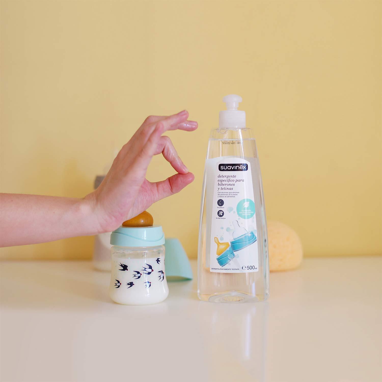 Suavinex - Detergente 500ml para biberones y tetinas. con 82% de Ingredientes de Origen Natural. sin alcohol y sin Colorantes, 500ml (Versión ...