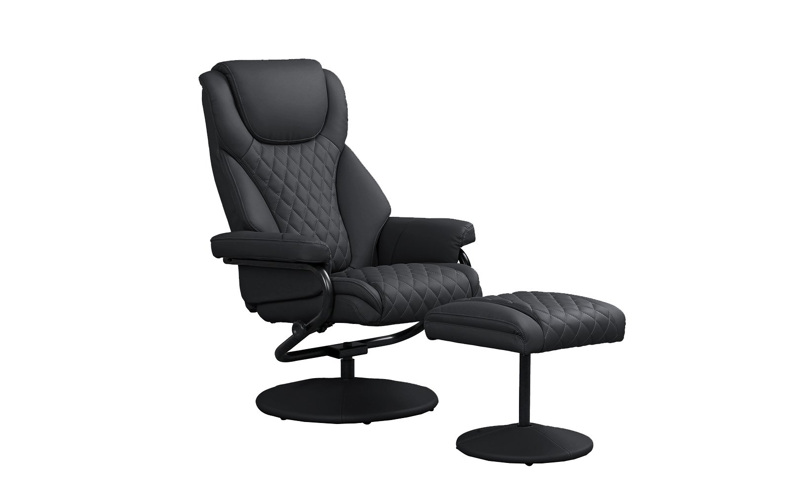 Divano Roma Furniture Office Swivel Chair with Footstool, Faux Leather Reclining Executive and Gaming Chairs (Black)