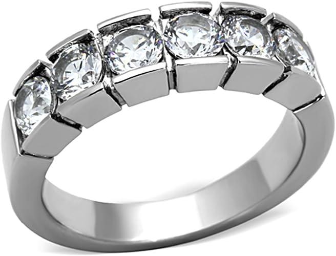 1.50 CT ROUND CUT CZ BLACK STAINLESS STEEL WEDDING RING SET WOMEN/'S SIZE 5-10