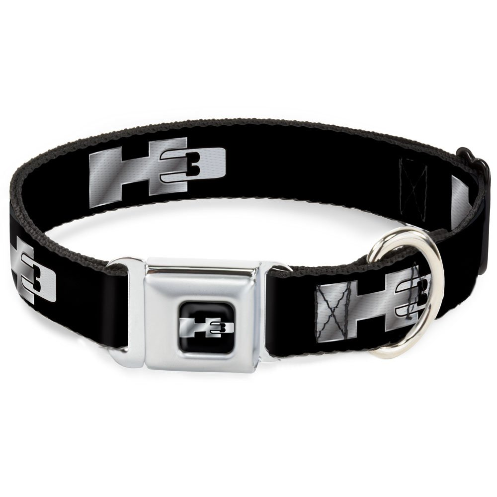 Buckle-Down Seatbelt Buckle Dog Collar H3 Black Silver Logo Repeat 1  Wide Fits 9-15  Neck Small