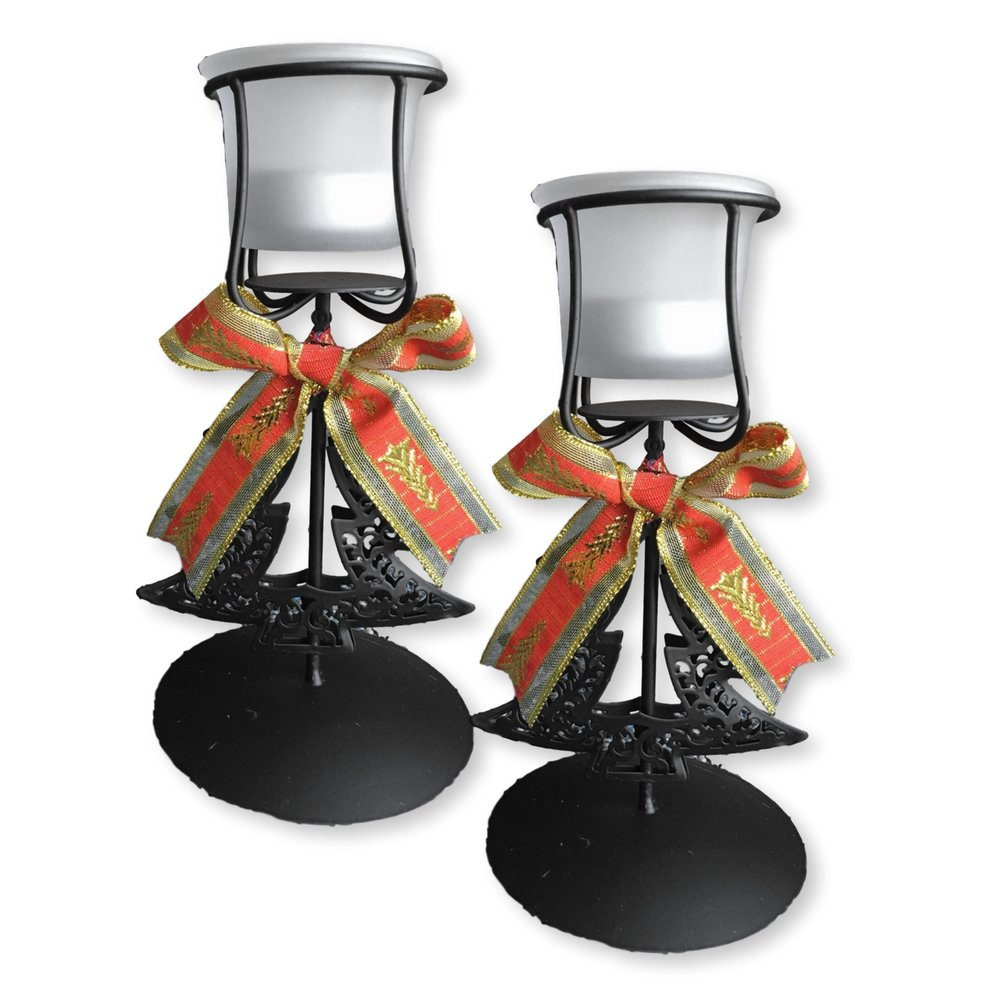 Christmas Candle Holders - Set of 2 Black Wrought Iron Xmas Tree Design with Bows - Christmas Centerpiece Candles