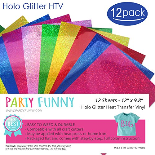 Holographic Glitter Heat Transfer Vinyl Sheets Bundle 6 Different Color and  2 Sheets Each Color-Best Iron On HTV Vinyl for Silhouette Cameo, Heat