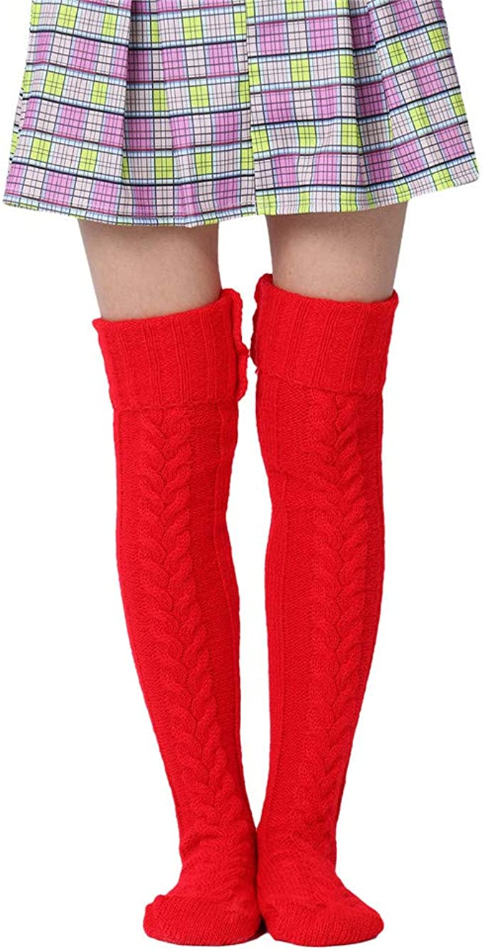 Vintage Socks | 1920s, 1930s, 1940s, 1950s, 1960s History Women Wool Stockings Casual Cable Knit Extra Long Boot Socks Over Knee Thigh Stocking Leg Warmers  AT vintagedancer.com