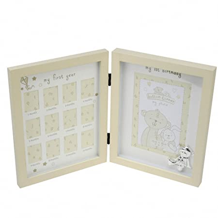 New Baby\'s 1st Year Photo Frame Silver Teddy: Amazon.co.uk: Kitchen ...