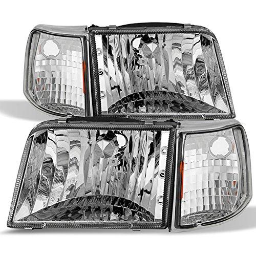 Ranger Pickup Headlight - For 93-97 Ford Ranger Pickup Truck Chrome Clear Headlights Replacement + Corner Signal Light Lamps Set