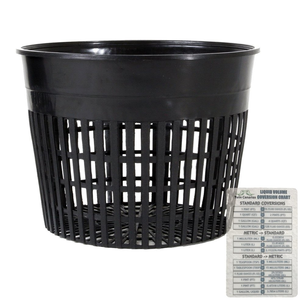 """HydroFarm 6"""" Inches Net Cup Pots - 6 Pack + Twin Canaries Chart"""