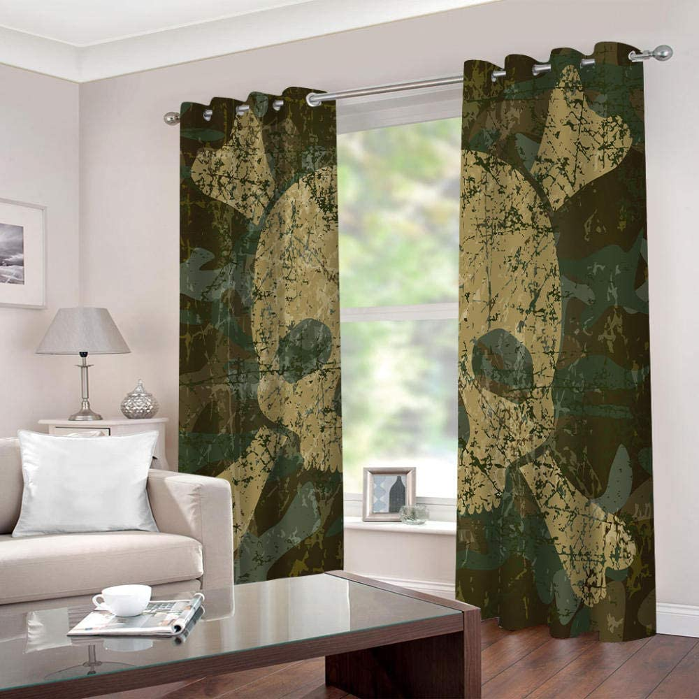 LIGAHUI Eyelet Blackout Curtains Army Green Skull 2x W46x L54 inch Thermal Insulated Room Darkening Curtains for Plain Room darkening Nursery Bedroom Windows treatment