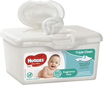Huggies Fragrance Free Baby Wipes Pop-Up Tubs, 80 Wipes