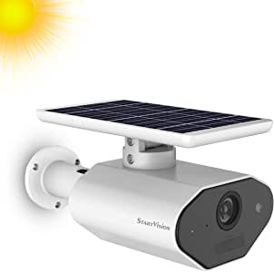 StartVision Solar Powered Security Camera, Wireless WiFi Outdoor Security Camera with Motion Detection Night Vision, Battery Powered 2.4GHz WiFi Camera, Built in Battery, IP66 Waterproof