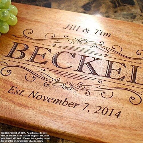 Classic Swirl Personalized Engraved Cutting Board Wedding Gift Anniversary Gifts Housewarming GiftBirthday Corporate Award 002