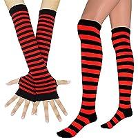 Women Long Fingerless Gloves Knit Arm Warmer Striped Knee High Socks Set