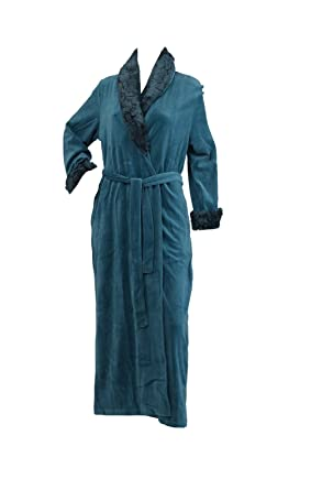 Slenderella Ladies Faux Fur Trim Soft Dressing Gown With Shawl