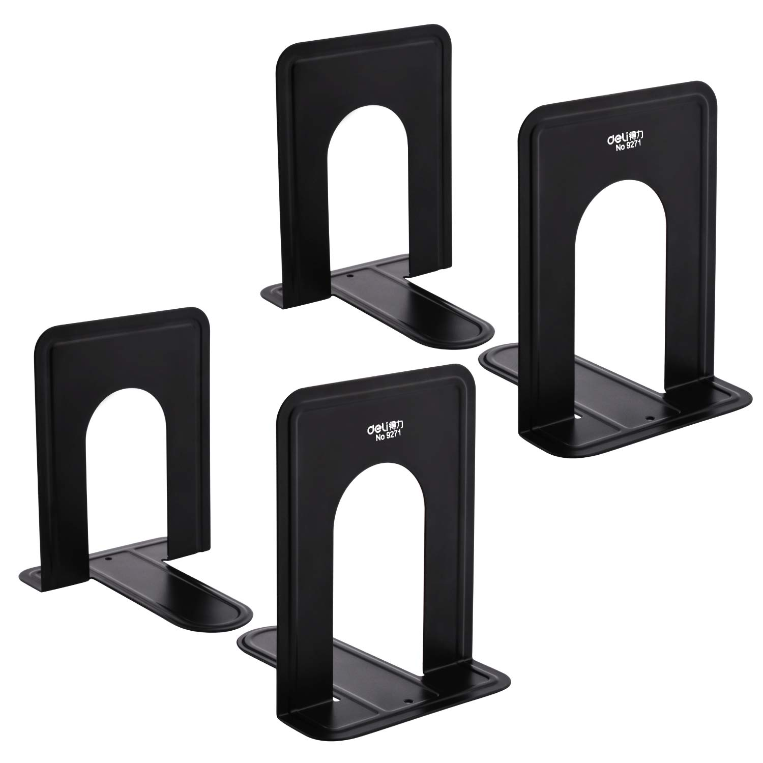 MaxGear Universal Economy Bookends, Nonskid, Heavy Duty Metal Book Ends Supports for Books, Movies, DVDs, Magazines, Video Games, Standard, 6 x 4.6 x 6.inch, Black, 2 Pair/4 Piece