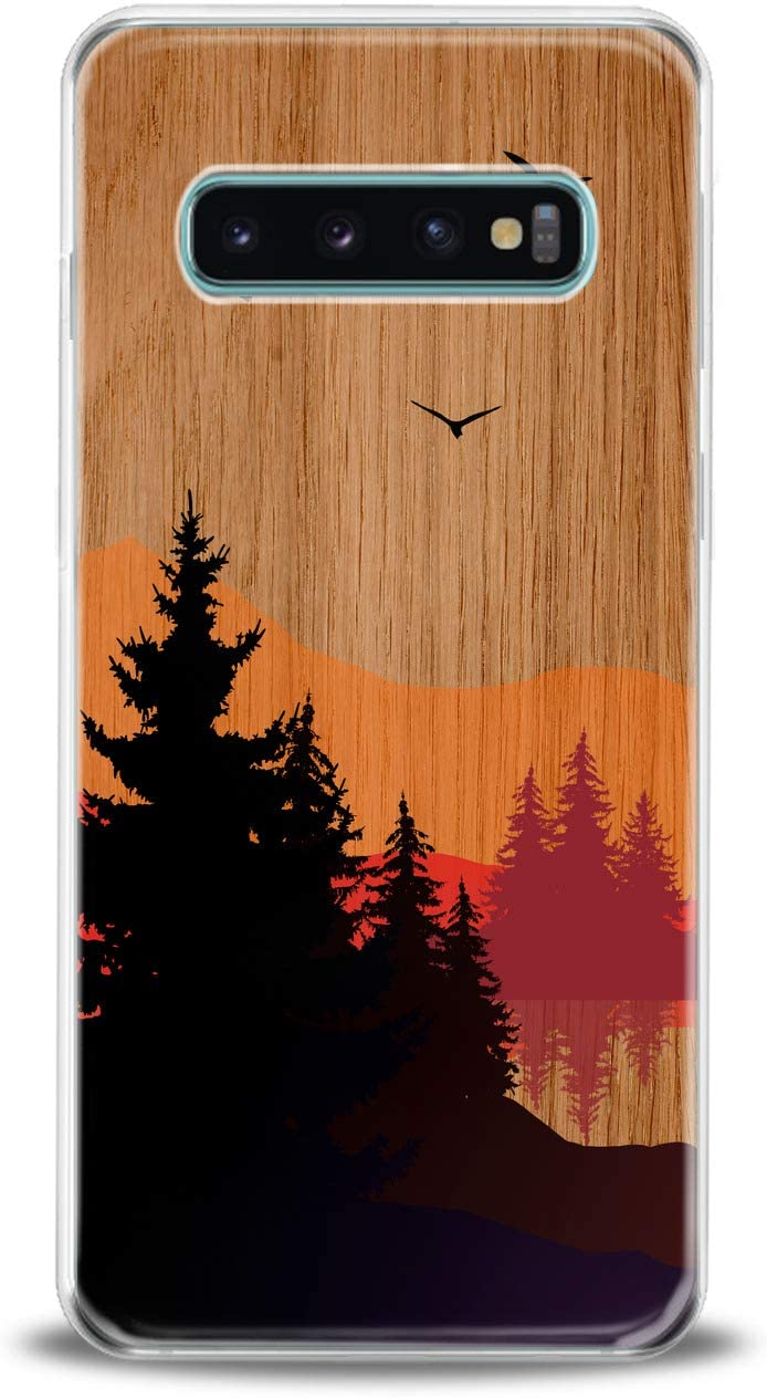 Lex Altern TPU Case for Samsung Galaxy s10 Plus 10e Note 10 5G 9 s9 s8 Sunset Landscape Dark Cover Nature Red Smooth Orange Clear Design Man Gift Wood Print Soft Lightweight Slim fit Flexible Girls