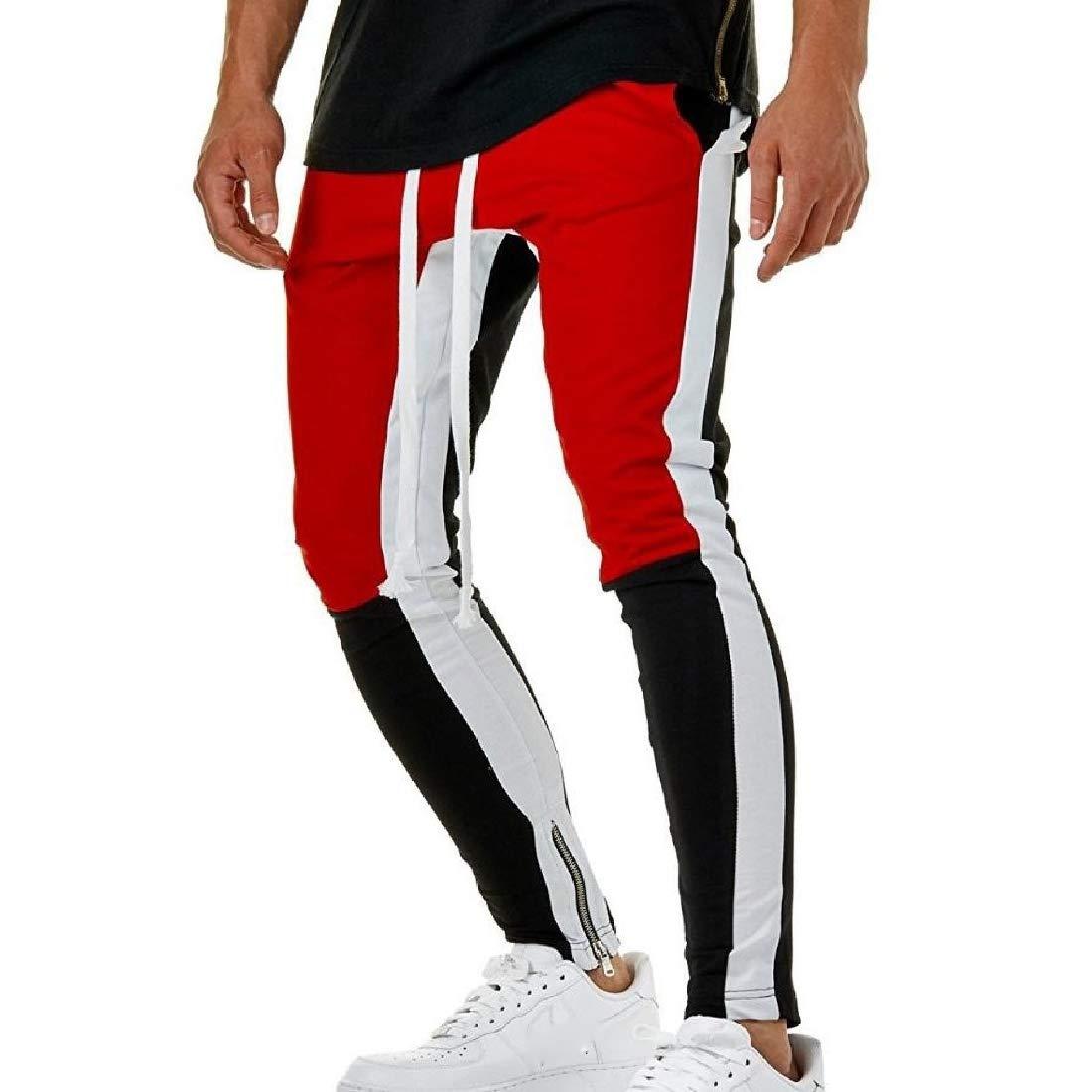 Highisa Men Fitness Spell Color Harem Casual Hip Hop Sports Pants