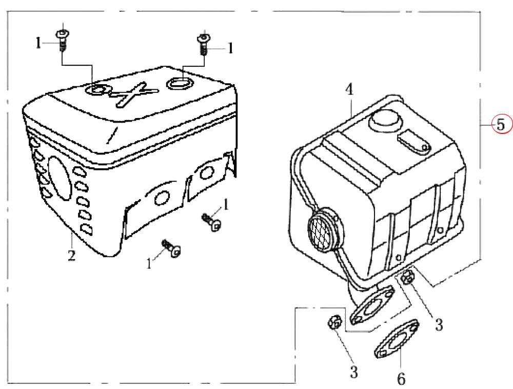 Ersatzteil f/ür LIFAN Benzinmotor 6,5 PS Schalld/ämpfer