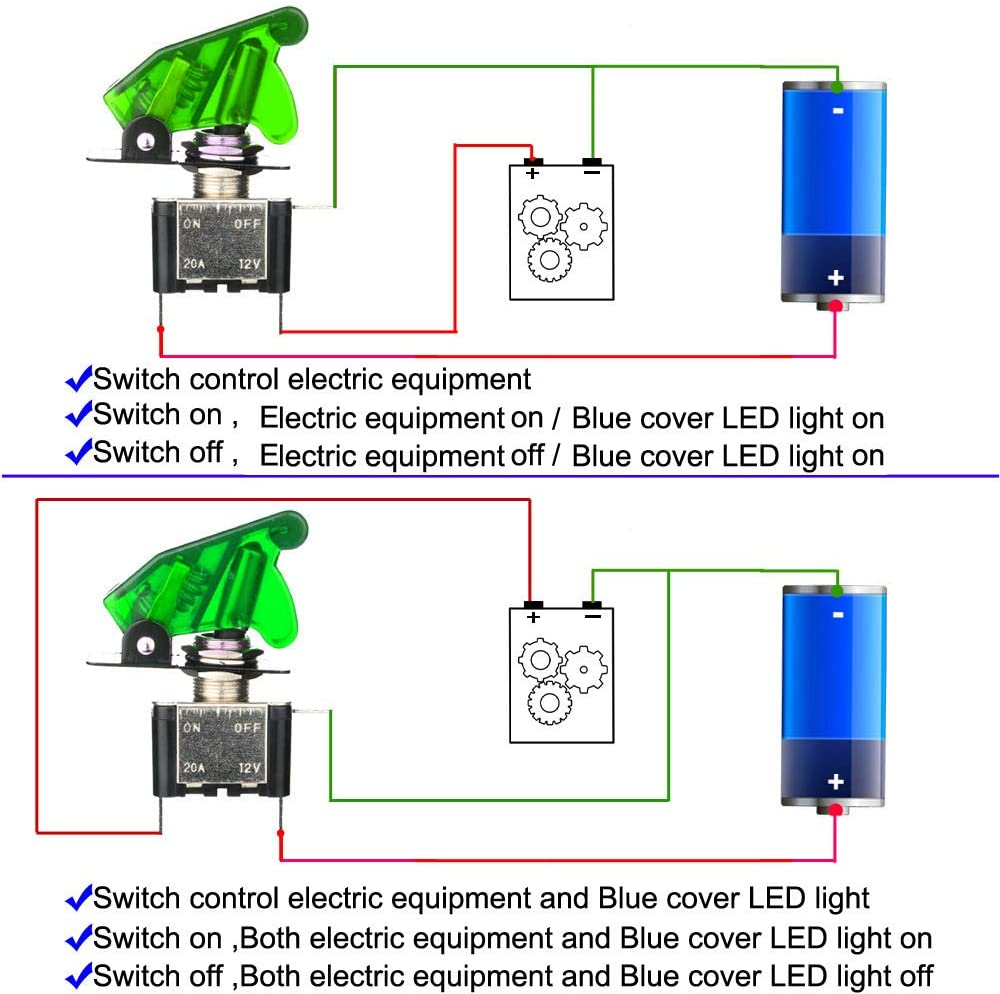 ,with Waterproof Boot Cap Cover,20A 12VDC,3 Pin SPST ON//Off Switch with Metal Bat,Used for Car Auto Truck Boat Red,Green,Blue Gebildet 3pcs Rocker Toggle Switch LED Illuminated