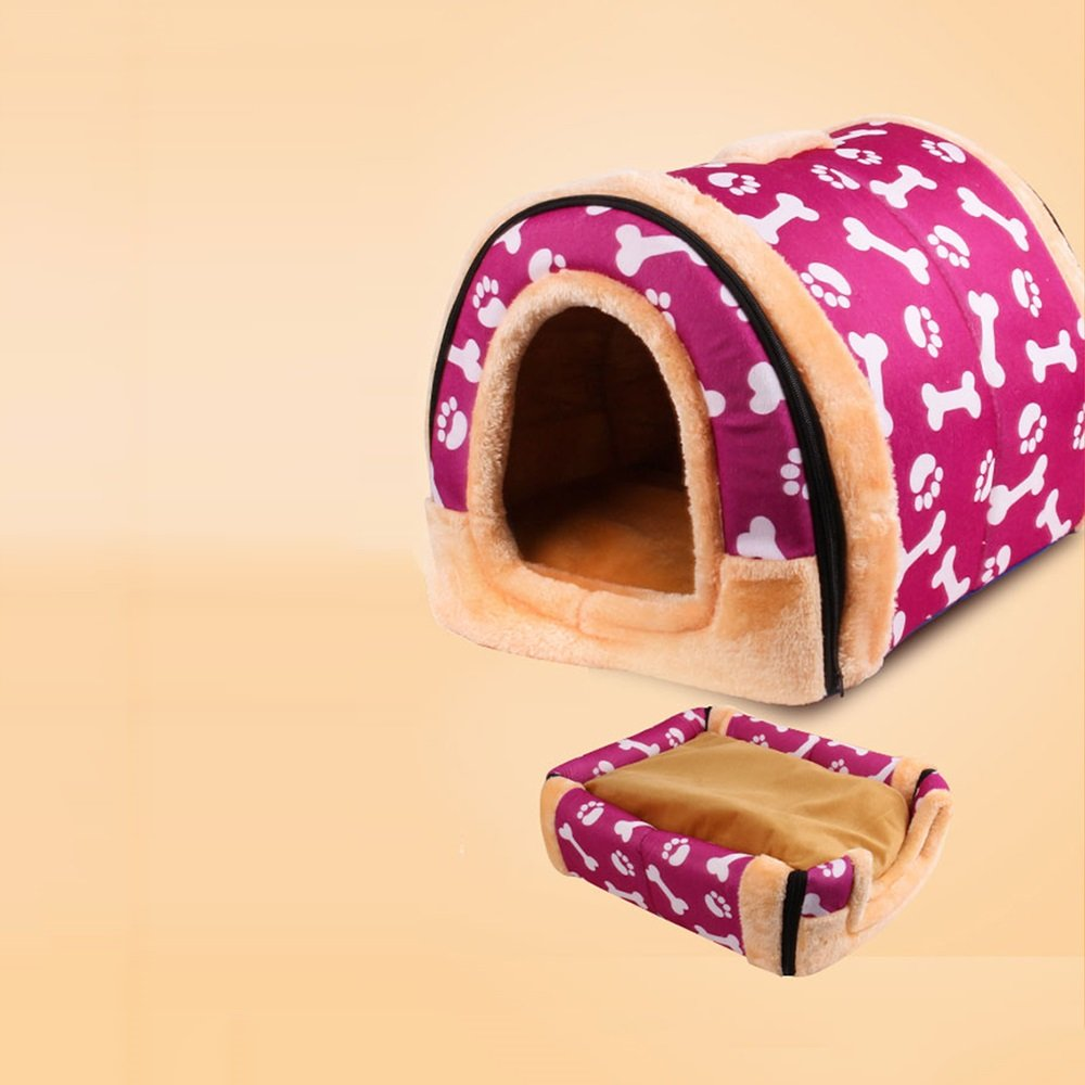 Purple X-Small Purple X-Small YQQ Cat Nest Cotton Nest Warm Kennel Indoor Outdoor Doghouse Pet Supplies Double Use Waterproof Removable And Washable Red Purple orange pink (color   PURPLE, Size   XS)