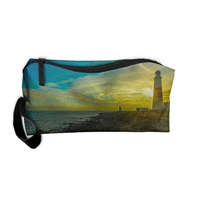 Sunset Seabeach Lighthouse Pattern Makeup Bag Calico Girl Women Travel Portable Cosmetic Bag Sewing Kit Stationery Bags Funny Storage Pouch Bag Multi-function Bag