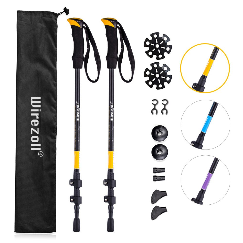 Telescopic Skiing Wirezoll Trekking Poles 2 Packs with Antishock and Quick Lock System Camping Mountaining Walking Trekking Ultralight for Hiking