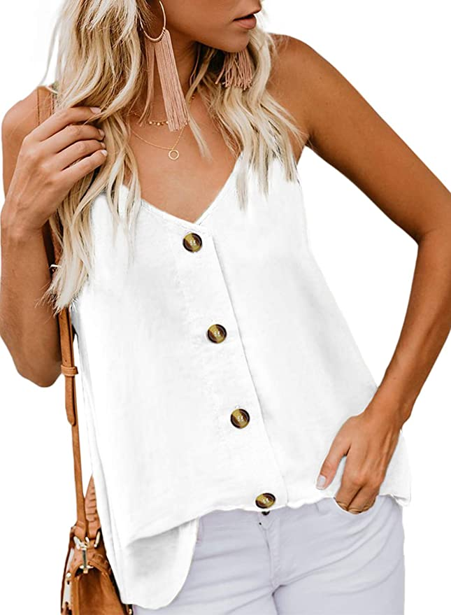 BLENCOT Women Cute Sleeveless Shirts Blouses Button Up V Neck Spaghetti Strap Fashion Cami Tank Top White M best women's tank tops