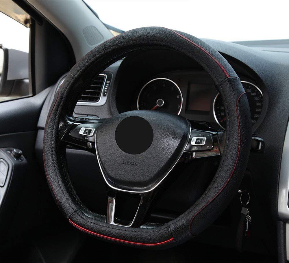 Fond Plat HONCENMAX D Type V/éhicule Couvre Volant Voiture Protecteur de Volant D-Forme Diam/ètre 38cm 15 Cuir PU