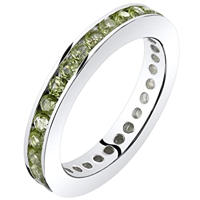 64466a1c1 Amazon.com: Peridot Eternity Band Ring Sterling Silver 1.00 Carats ...
