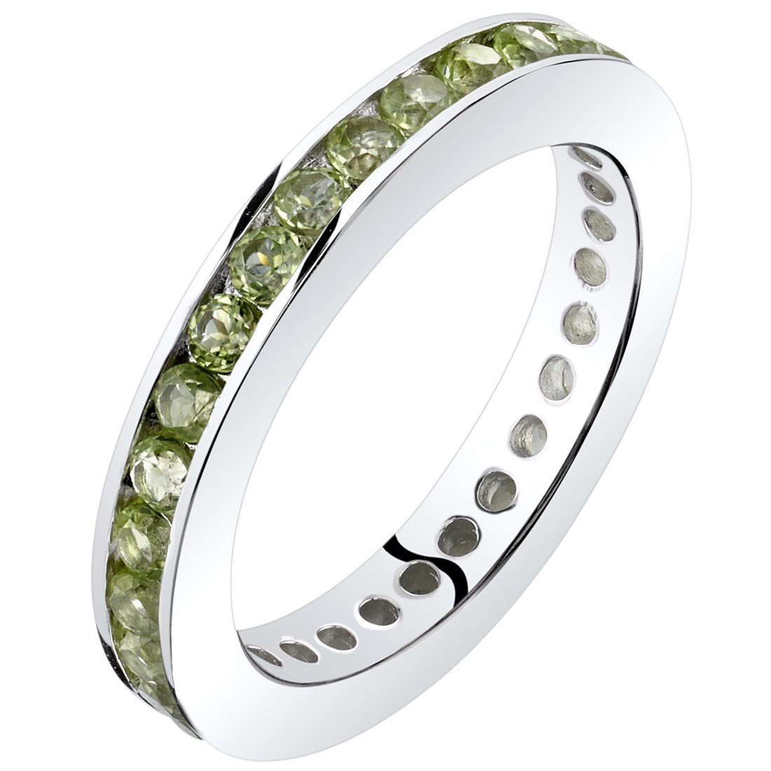 Peridot Eternity Band Ring Sterling Silver 1.00 Carats Size 7
