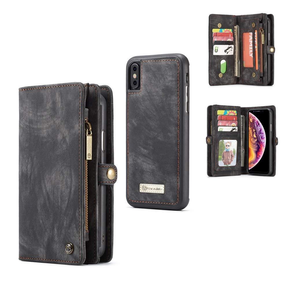 Für Iphone XS Max 6.5 Zoll Hülle, Colorful Schutzhülle Brieftasche Handyhülle [Abnehmbare Brieftasche Folio] [2 in 1] [Zipper Cash Storage] [Bis zu 13 Kartensteckplätze 1 Foto Fenster] Retro-Leder-Clutch mit herausnehmbaren inneren magnetischen TPU Case -G