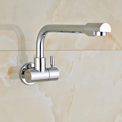 Rozin Wall Mounted Single Cold Water Kitchen Sink Faucet Swivel Spout Tap Chrome Finish
