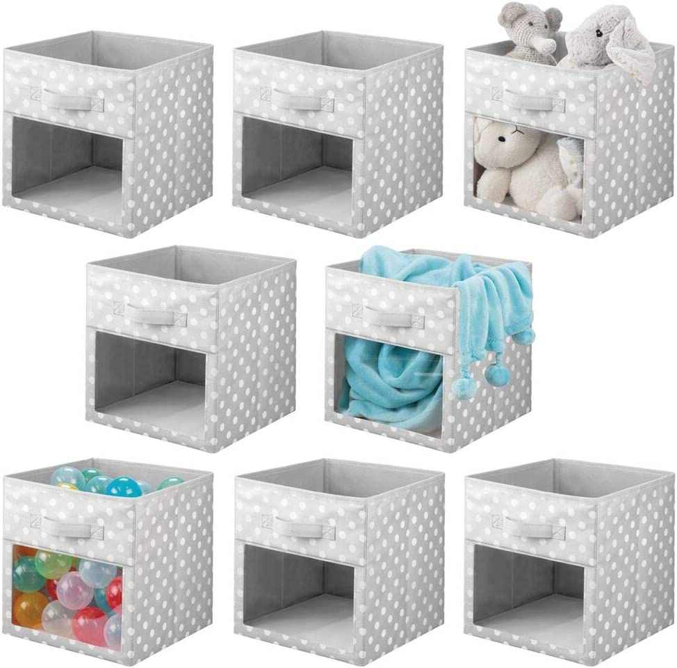 mDesign Soft Fabric Closet Storage Organizer Cube Bin Box with Easy-View Front Window, Handle - for Child/Kids Room, Nursery, Playroom, Furniture Unit, Shelf - 11 Inches High, 8 Pack - Gray/White