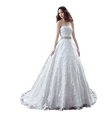 YSFS Women\'s Lace Bridal Gowns Wedding Dresses at Amazon Women\'s ...