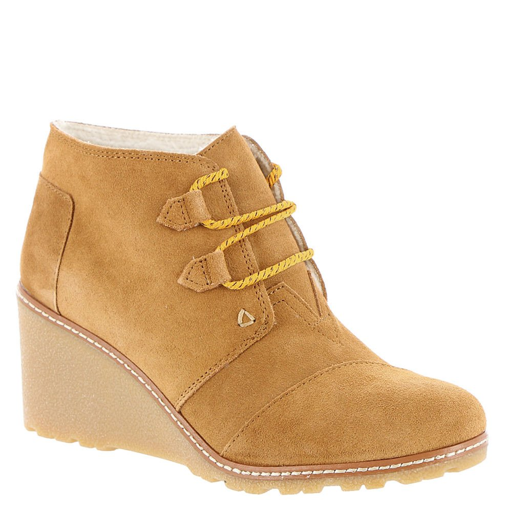 TOMS Women's Desert Wedge, Wheat Suede/Shearling/Faux Crepe Wedge, 6 B-Medium by TOMS (Image #1)