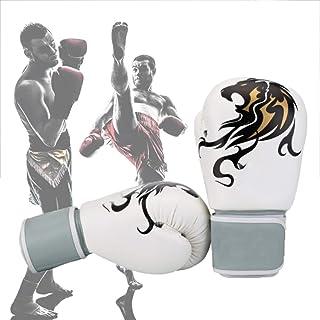 Guantoni da Boxe per Allenamento Kickboxing,Pu Leather Impermeabile e Resistente all'Usura per la Lotta al Sacco. Sacchi di Sabbia Vari Colori Unisex,White,10oz