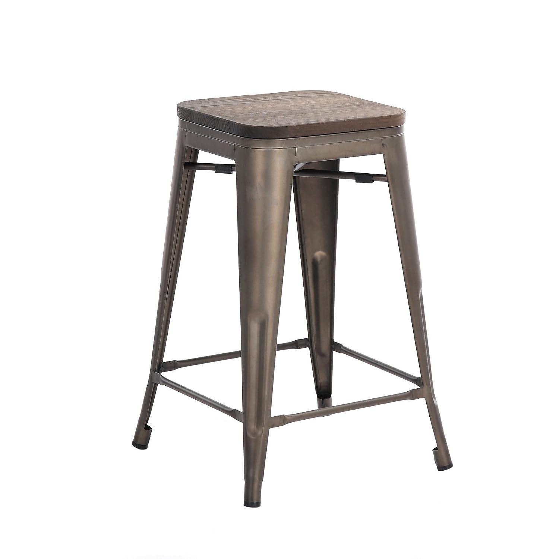 Amazon.com: Buschman Set of Four Dark Bronze Wooden Seat 24 Inches ...