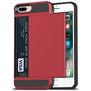 iPhone 7 Plus Case, iPhone 8 Plus Case, Anuck Shockproof iPhone 7/8 Plus Wallet Case [Card Pocket][Slide Cover] Anti-Scratch Protective Shell Armor Rubber Bumper Case with Card Slot Holder - Red