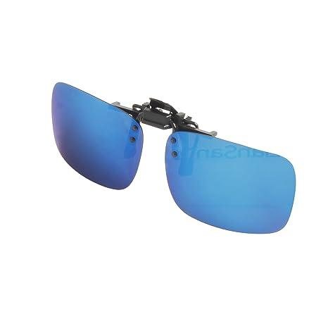 LianSan Verspiegelte Linse Polarisierte Clip auf Sonnenbrille Männer Frauen Flip Up Driving Sunglasses Rectangle,Blau, LSP101C
