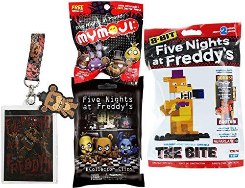 Five Nights at Freddy's 8-Bit Pack The Bite Figure + Vinyl Funko Mymoji mini Figure Blind Bag & Mystery Clip Backpack Hanger + Pop! Lanyard Freddy
