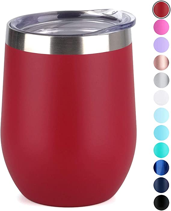 SUNWILL Vaccum Insulated Wine Tumbler with Lid (Wine Red)