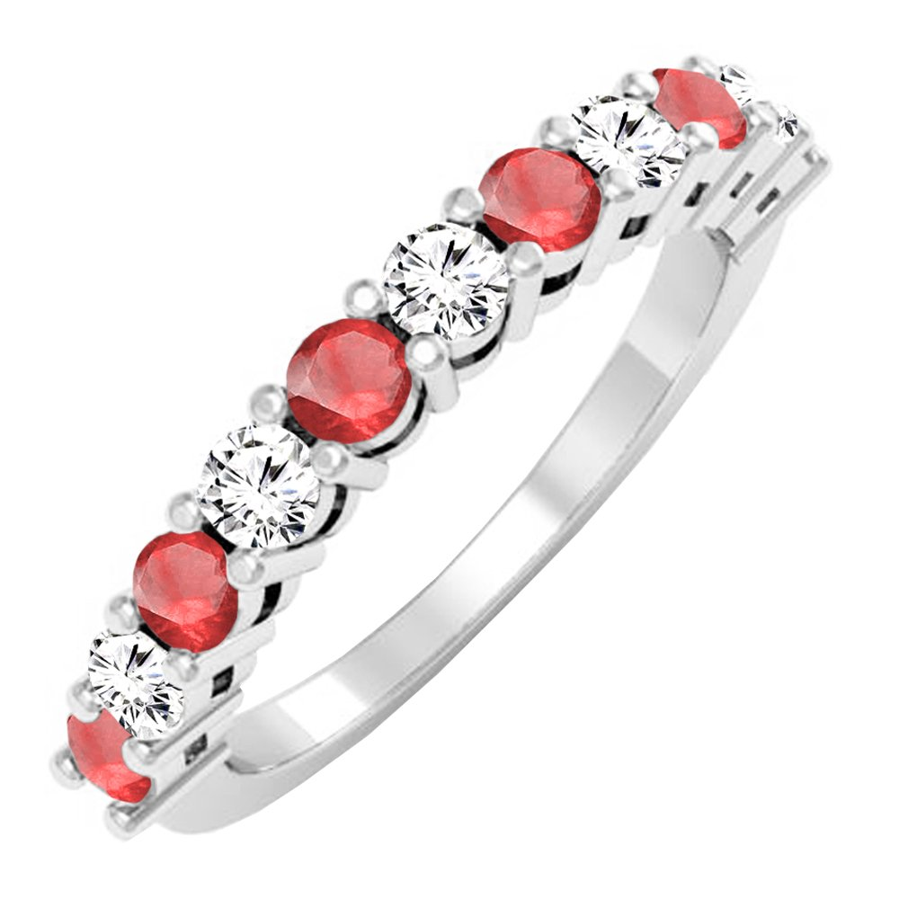 10K White Gold Round Ruby & White Diamond Anniversary Stackable Wedding Band (Size 7)
