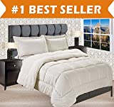 Elegant Comfort Premium Quality Heavy Weight Micromink Sherpa-Backing Reversible Down Alternative Micro-Suede 3-Piece Comforter Set, Full, Ivory