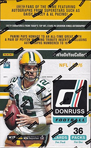 (2016 Donruss NFL Football Cards Retail Box - This Box Contains 288 Cards, Rookies, Inserts - Possible Hits Include Rookie Autographs or Memorabilia Cards)