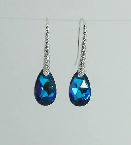 Swarovski Silver Earrings 999 plated thickness (4+ micron) Drop Ear wire Hook Dangle Earrings Heliotrope Crystal Elements Women Bridal Valentine's Mother's day gift (matched Necklace is available)