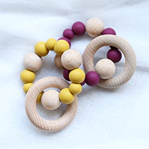 Baby Teether Nursing Bracelet Food Grade Silicone Teether Wooden Teether Ring Teether Nature Safe Organic Infant Baby Bangle Teether Toys