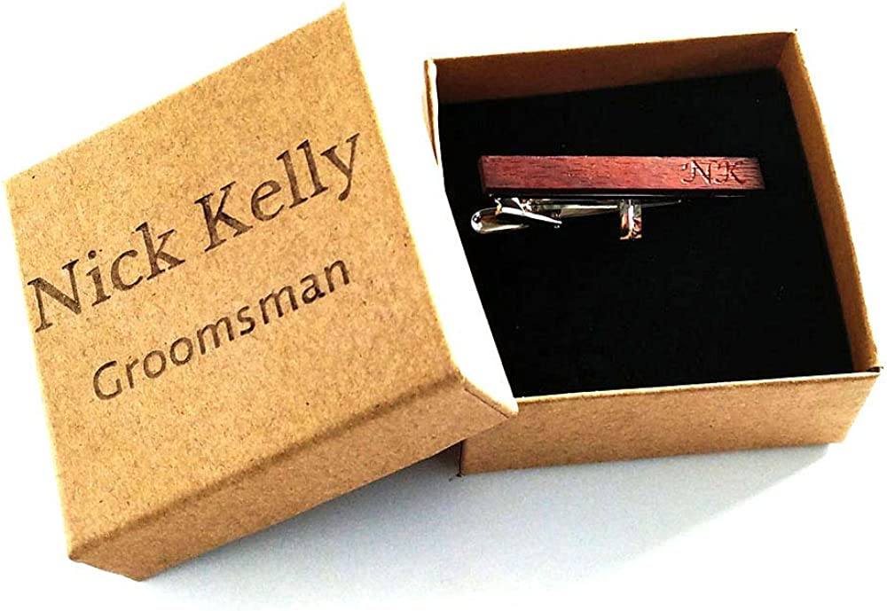 Awerise Personalized Walnut Wooden Tie Clip in Paper Box Custom Groomsmen Best Man Gift