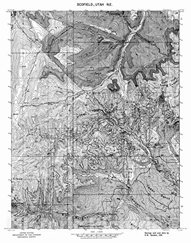 Historic Pictoric Map : Coal and Geology map, Scofield NE [Jump Creek] Quadrangle, 1972 Cartography Wall Art : 18in x 24in