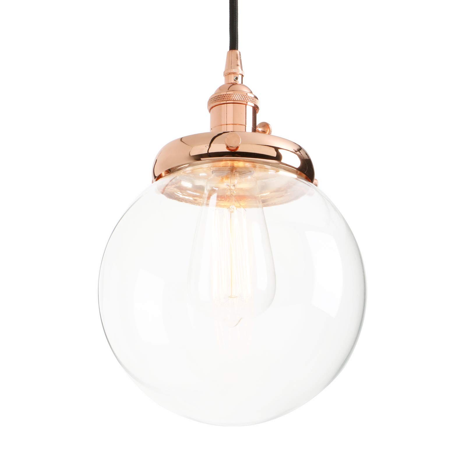 Phansthy Vintage Industrial Pendant Light Retro Warehouse Light Fixture E26 Globe Clear Glass Shade Hanging Light Lamp for Loft Kitchen Coffee Bar by Phansthy