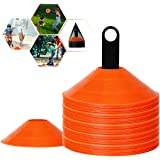 BIZBON 50 Pack Pro Disc Cones Sports Cones,Basketball, Agility Soccer Cones with Carry Bag and Holder for Training,Football,