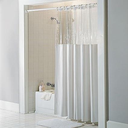 Amazon.com: See Through Top Clear/White Vinyl Bath Shower Curtain 72 ...