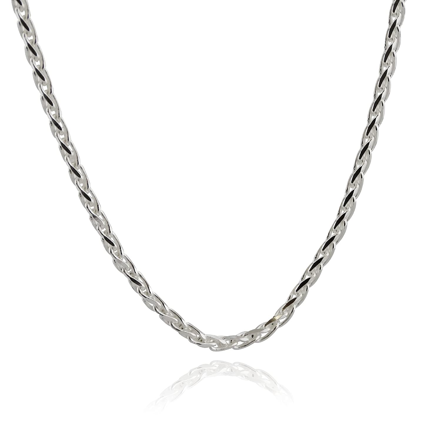 Sterling Silver 3mm Spiga Wheat Chain Necklace - 16, 18, 20, 24, 30 Inches